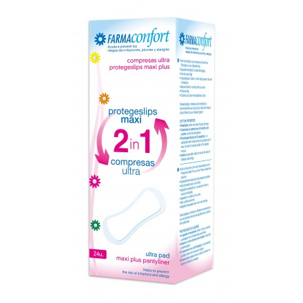 Compresas Ultra + Protegeslips maxi plus 2 en 1 Farmaconfort